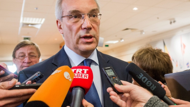 epa05268622 Russian Ambassador to NATO, Alexander Grushko speaks to the press after a meeting with NATO Secretary General Jens Stoltenberg at the Alliance headquarters, in Brussels, Belgium, 20 April 2016. This is the first time that a dialogue takes place between NATO and Russia after the Russians bombed Ukraine in 2014.  EPA/STEPHANIE LECOCQ