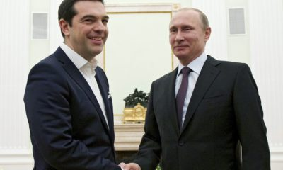 epa04695314 Russian President Vladimir Putin (R) welcomes visiting Greek Prime Minister Alexis Tsipras (L) during their meeting in Moscow's Kremlin, Russia, 08 April 2015. Greek Prime Minister Alexis Tsipras was holding talks with Russian President Vladimir Putin in Moscow in an effort to boost economic cooperation, investment and trade relations between the two countries.  EPA/ALEXANDER ZEMLIANICHENKO/POOL