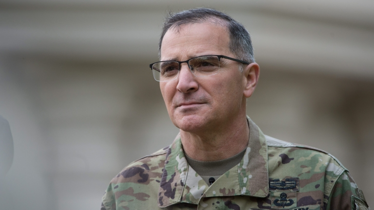 epa05288096 U.S. Army General Curtis Scaparrotti, new commanding officer of US and NATO troops in Europe, attends a news conference after the change in command at the United States European Command (EUCOM), in Stuttgart, Germany, 03 May 2016.  EPA/MARIJAN MURAT
