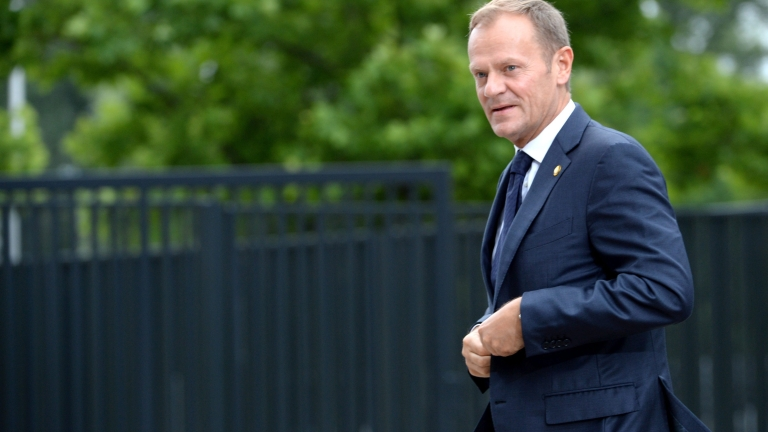 epa05416357 European Council President Donald Tusk arrives for the second day of NATO Summit in Warsaw, Poland, 09 July 2016. In the second day of the NATO Summit heads of state and government will take part in meeting on Afghanistan and Ukraine. The NATO Warsaw Summit takes place on 08 and 09 July with about 2,000 delegates, including 18 state heads, 21 prime ministers, 41 foreign ministers and 39 defence ministers taking part in the Summit.  EPA/JACEK TURCZYK POLAND OUT