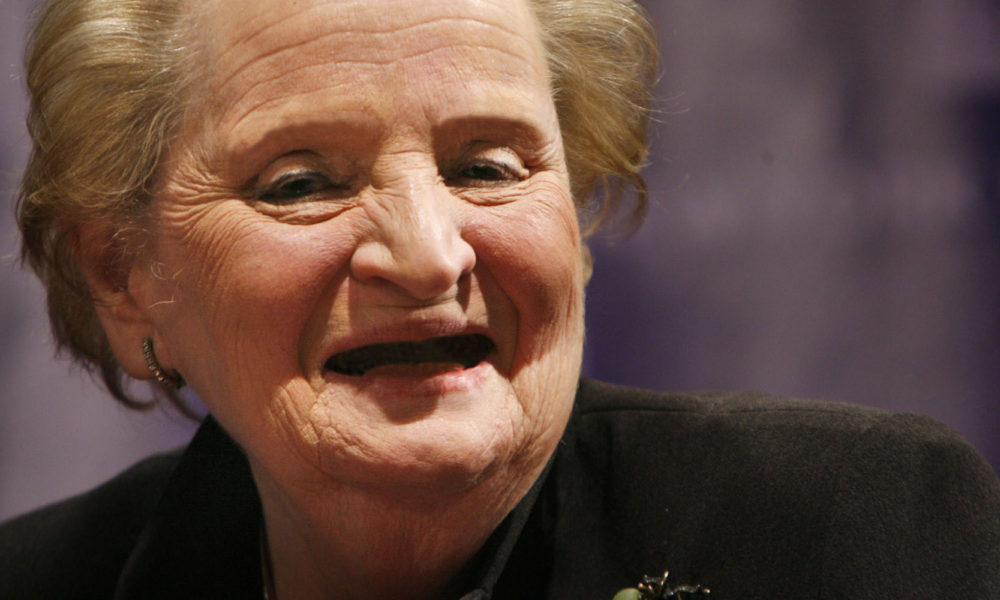 Former U.S. Secretary of State Madeline Albright smiles during a panel discussion at New York University in New York, Wednesday, March 25, 2009.  Albright was there with other world leaders to discuss urgent global issues such as economics, climate change and security.  (AP Photo/Seth Wenig)