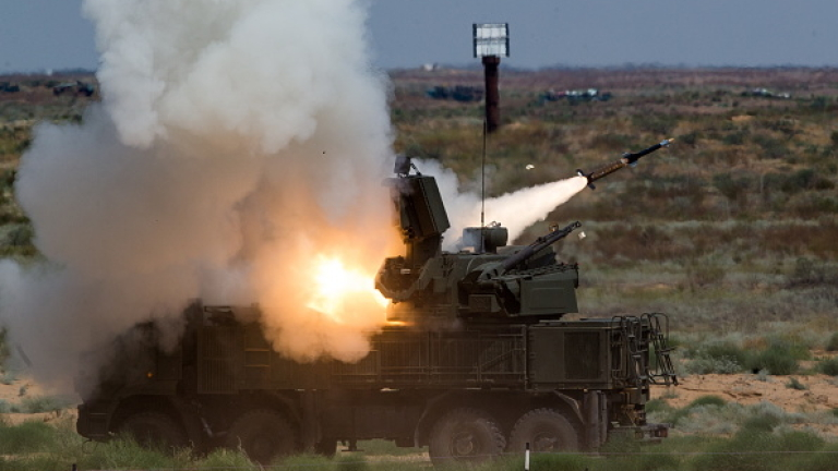 ASTRAKHAN REGION, RUSSIA - AUGUST 7, 2016: A Pantsir-S air defense missile-gun system during the final stage of the Keys to the Sky competition among AD missile units at Ashuluk Firing Range as part of the 2016 Army Games, an international event organized by the Russian Defense Ministry. Sergei Bobylev/Russian Defence Ministry Press Office/TASS (Photo by Sergei BobylevTASS via Getty Images)