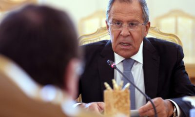 epa05492340 Russian Foreign Minister Sergei Lavrov (R) and New Zealand's Foreign Minister Murray McCully (L) talk during their meeting in Moscow, Russia, 17 August 2016. New Zealand's Foreign Minister McCully is on an official visit to Russia.  EPA/MAXIM SHIPENKOV