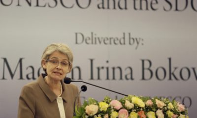epa05489885 Irina Bokova, Director General of the United Nations Educational, Scientific and Cultural Organization (UNESCO) delivers a keynote lecture under the theme 'Soft Power for Peace and Development: UNESCO and the Sustainable Development Goals' at the Lakshman Kadirgamar Institution of International Relations and Strategic Studies in Colombo, Sri Lanka 16 August 2016. Irina Bokova, the first female to head the UNESCO is on a four-day official visit to Sri Lanka on the invitation of the Government. During her visit she would call on President Maithripala Sirisena and also meet Sri Lanka's Ministers for Foreign Affairs, Higher Education and Highways, Education and Science, Technology and Research. Ms. Bokova would visit the ancient cities of Polonnaruwa and Sigiriya and the sacred city of Kandy that have been included in the UNESCO World Heritage list. Sri Lanka has been a member of the UNESCO since 1949 prior to becoming a member of the United Nations in 1955. In November 2015, Sri Lanka was elected to the Executive Board of UNESCO for the term 2015-2019.  EPA/M.A.PUSHPA KUMARA