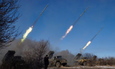 VUGLEGIRSK , UKRAINE - FEBRUARY 18: Pro-Russian rebels fire artillery grad rockets towards Debaltseve on February 18, 2015, near Vuglegirsk, Ukraine. Ukrainian troops have been forced to retreat from Debaltseve following continued fighting as rebel fighters advance into the town in spite of the recent ceasefire agreement. (Photo by Pierre Crom/Getty Images)