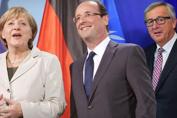 Fotomontazh Merkel Hollande Junker