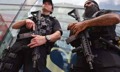 epa05983701 Armed police on patrol in Manchester, Britain, 23 May 2017. According to a statement by the Greater Manchester Police, at least 22 people have been confirmed dead and around 59 others were injured, in an explosion at the Manchester Arena on the night of 22 May at the end of a concert by US singer Ariana Grande. Police believe that the explosion, which is being treated as a terrorist incident, was carried out by a single man using an improvised explosive device (IED), who was confirmed dead at the scene. British Prime Minister Theresa May in the meantime had condemned the incident as 'an appalling terrorist attack.'  EPA/ANDY RAIN