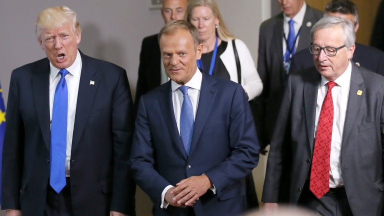epa05988457 US President Donald J. Trump (L) chats with the President of the European Council Donald Tusk (C) and the President of the European Commission Jean-Claude Juncker (R) at the end of their meeting at the European Council, in Brussels, Belgium, 25 May 2017. Trump is in Belgium to attend a North Atlantic Treaty Organization (NATO) Summit and to meet EU leaders.  EPA/ROBERT GHEMENT