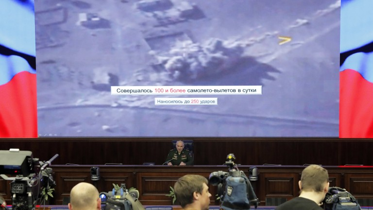 epa06374272 Chief of the Main Operational Directorate of the General Staff of the Russian Armed Forces Colonel General Sergei Rudskoy (C) holds a media briefing on the fight against terrorism in Syria at the Russian National Defence Control Center in Moscow, Russia, 07 December 2017. Sergei Rudskoy announced full elimination of the so-called Islamic State (IS, ISIS or ISIL) terrorist forces in Syria.  EPA/SERGEI ILNITSKY