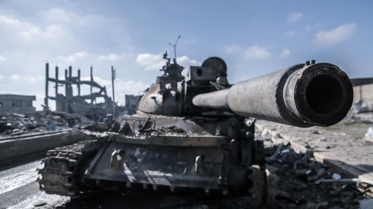 A ISIS destroyed tank in Kobane