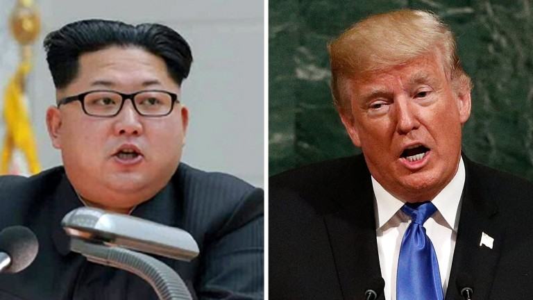 epa06218776 (FILE / COMPOSITE) - A combo file picture shows North Korean leader Kim Jong-un (L) in Pyongyang, North Korea, 10 January 2016, and US President Donald J. Trump (R) at the UN headquarters in New York, New York, USA, 19 September 2017 (images reissued 22 September 2017). The North Korean leader released a statement on 22 September 2017, vowing to make US President Trump 'pay dearly' for threatening North Korea in remarks he made during the 72nd United Nations General Assembly held in New York, New York, USA. President Trump, during the assembly on 19 September 2017, vowed to 'totally destroy' North Korea if it posed threats to the USA and its allies. North Korean Foreign Minister Ri Yong Ho warned that Pyongyang may be preparing for a hydrogen bomb test in the Pacific Ocean in response to the US President's intimidations, hours after Trump imposed fresh sanctions against the North for its nuclear weapons programs, media reported.  EPA/KCNA / JUSTIN LANE   EDITORIAL USE ONLY