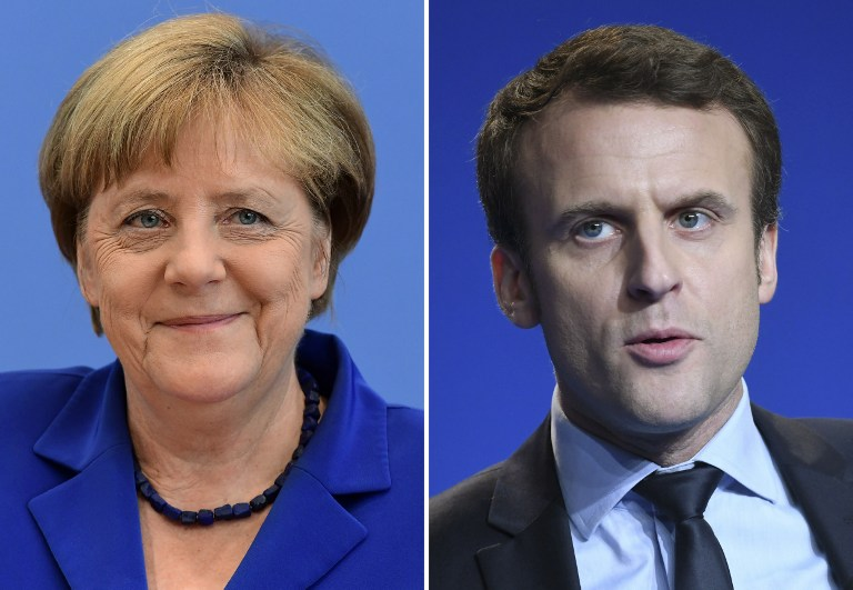 "(COMBO) This combination of file pictures created on Mach 10, 2017 shows German Chancellor Angela Merkel (L, July 28, 2016 in Berlin) and French presidential election candidate for the ""En Marche"" movement Emmanuel Macron (March 4, 2017 in Caen). As it was announced on March 10, 2017, Merkel will receive Macron in Berlin on March 16, 2017. / AFP PHOTO / Tobias SCHWARZ AND Jean-François MONIER"