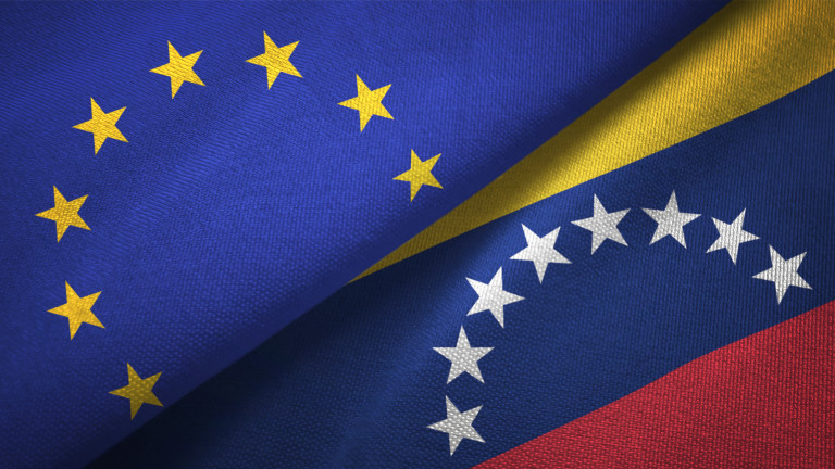 Venezuela and European Union flag together realtions textile cloth fabric texture