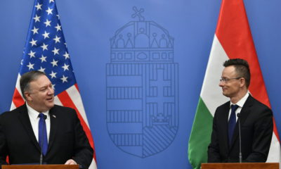 epa07362587 Hungarian Minister of Foreign Affairs and Trade Peter Szijjarto (R) and US Secretary of State Mike Pompeo hold a joint press conference after their meeting in the ministry in Budapest, Hungary, 11 February 2019. Pompeo is on an official visit to Hungary.  EPA/Zsolt Szigetvary HUNGARY OUT
