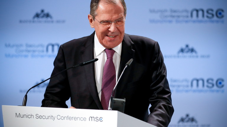 epa07374306 Russian Foreign Minister Sergei Lavrov delivers a speech during the 55th Munich Security Conference (MSC) in Munich, Germany, 16 February 2019. From 15 to 17 February, politicians, various experts and guests from all over the world will discuss global security issues in their annual meeting.  EPA/RONALD WITTEK