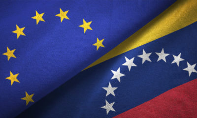 Venezuela and European Union flag together realtions textile cloth fabric texture