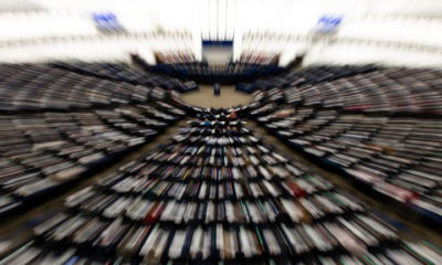 epa07366623 A picture taken with a zoom effect shows members of Parliament vote on the EU-Singapore trade agreement  at the European Parliament in Strasbourg, France, 13 February 2019.  EPA/PATRICK SEEGER