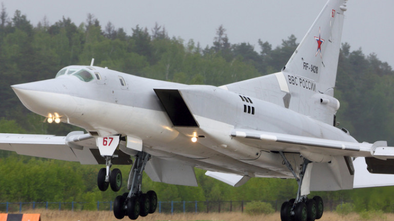 Tupolev Tu-22M3 RF-94218 bomber of Russian Air Force landing at Kubinka air force base.
