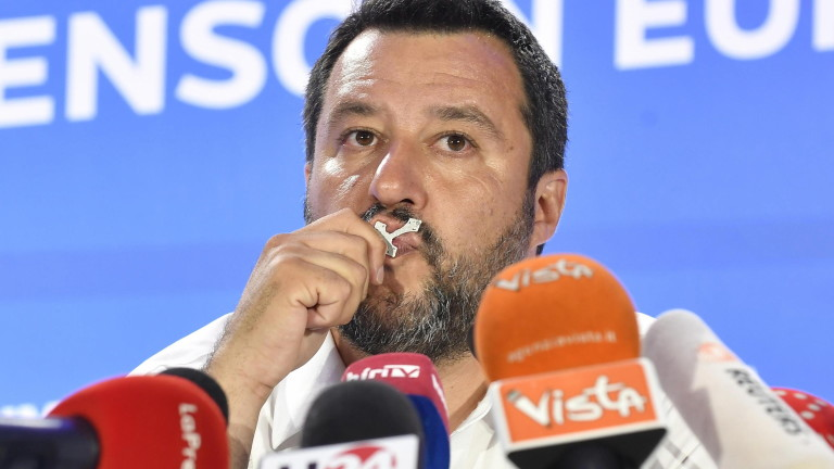 epa07604569 Deputy Premier and Interior Minister Matteo Salvini of League Party speaks during a press conference in Milan, Italy, 26 May 2019. The European Parliament election was held by member countries of the European Union (EU) from 23 to 26 May 2019.  EPA/FLAVIO LO SCALZO