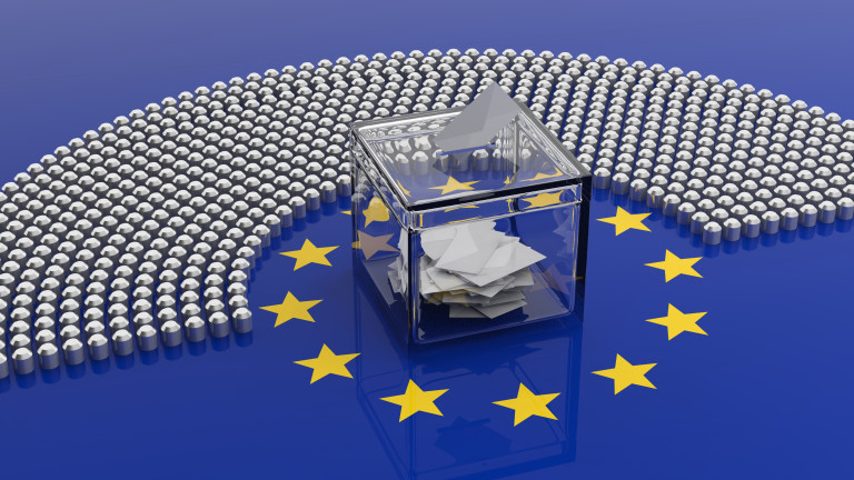 EU election. European Union parliament seats and a voting box on EU flag background, banner. 3d illustration