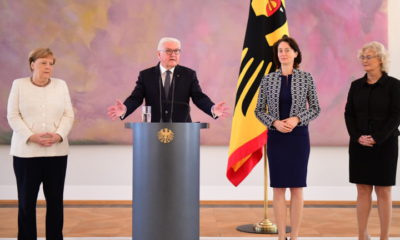 epa07676360 (L-R) German Chancellor Angela Merkel, German President Frank-Walter Steinmeier, outgoing German Minister of Justice Katarina Barley and designated Minister of Justice Christine Lambrecht during the handing over of the certificates of appointment and discharge as Ministers of Justice at Bellevue Palace in Berlin, Germany, 27 June 2019. In an official ceremony German President Frank-Walter Steinmeier signed the certificates of discharge for the Ministry of Justice and approved the certificate of appointment of the new Justice Minister.  EPA/CLEMENS BILAN