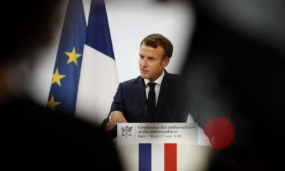 epa07796873 French President Emmanuel Macron delivers a speech during the annual French ambassadors conference at the Elysee Palace in Paris, France, 27 August 2019.  EPA/YOAN VALAT / POOL