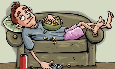 Cartoon teenager lounging on the couch