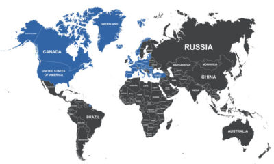 All member states of NATO highlighted on the map