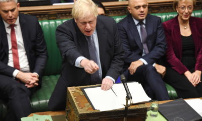 epa07932972 A handout still image available by the UK Parliament shows British Prime Minister Boris Johnson addressing MPs during a debate on the revised Brexit deal at the House of Commons in London, Britain, 19 October 2019. The European Union (EU) and the British government reached a tentative deal on Brexit that must be ratified in a vote by the UK Parliament.  EPA/UK PARLIAMENT / JESSICA TAYLOR MANDATORY CREDIT: UK PARLIAMENT / JESSICA TAYLOR - Images must not be altered in any way. HANDOUT EDITORIAL USE ONLY/NO SALES