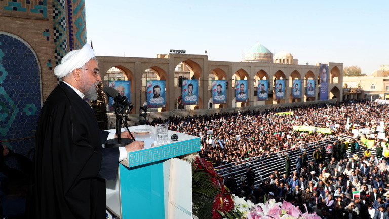 epa07985384 A handout photo made available by the Presidential Office shows Iranian president Hassan Rouhani as he speaks to the crowd in a public gathering at the city of Yazd, some southeast, Iran, 10 November 2019. Media reported that Rouhani announced that Iran has discovered a new oil field in the country's south with over 50 billion barrels of crude oil.  EPA/PRESIDENTIAL OFFICE / HANDOUT  HANDOUT EDITORIAL USE ONLY/NO SALES