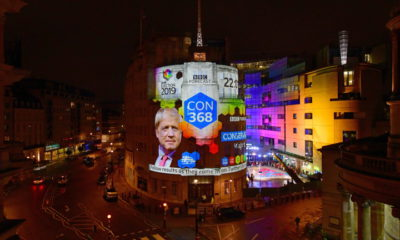 epa08067020 A handout photo made available by the BBC shows exit polls of Conservative Party result projected onto Broadcasting House in London, Britain, 12 December 2019. According to exit polls, Conservative party won the elections with 368 seats ahead of Labour party with 191 seats in the House of Commons.  EPA/JEFF OVERS / BBC / HANDOUT MANDATORY CREDIT NOTE TO EDITORS: Not for use more than 21 days after issue. HANDOUT EDITORIAL USE ONLY/NO SALES