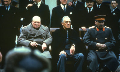 Winston Churchill, Franklin Delano Roosevelt and Joseph Stalin at the Yalta Conference, February 1945.   (Photo by Hulton Archive/Getty Images)